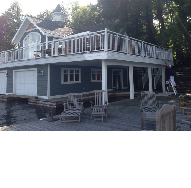 muskoka painted boathouse deck