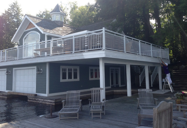 Muskoka boathouse with deck