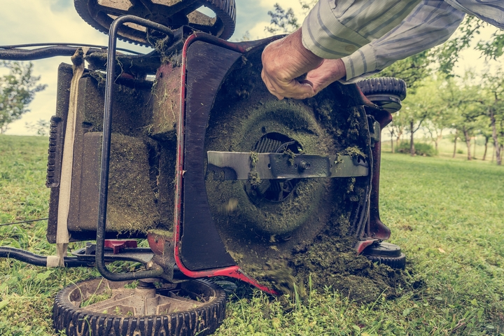 You can change the mower blade to prevent brown patches on lawn.