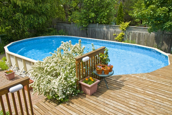 You can install a wooden deck around the pool landscaping.