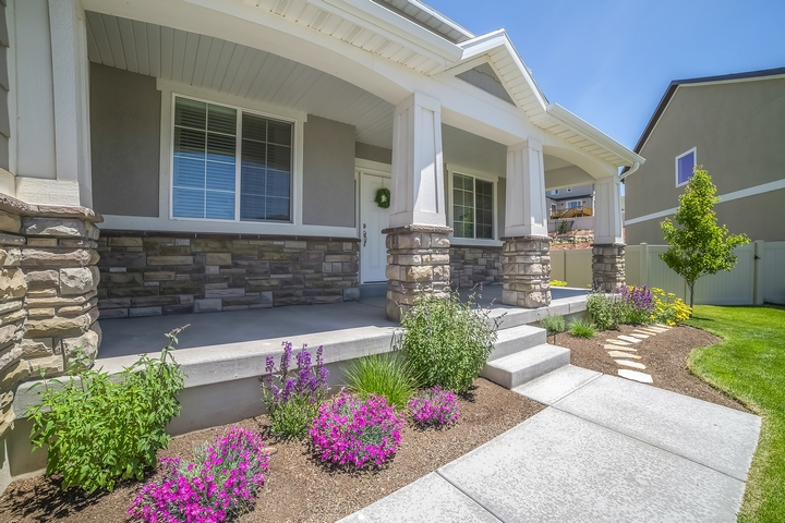It can be helpful to add contrasting elements for front yard landscaping.